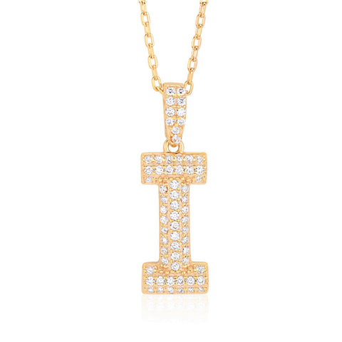 "UNICORNJ Sterling Silver 925 Initial Pendant Yellow Gold Plated with Pave CZ Letter I 17"" Italy"