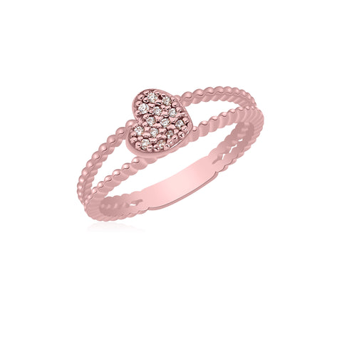 UNICORNJ 14K Rose Gold Double Band Beaded Ring with Pave CZ Heart Accent Italy