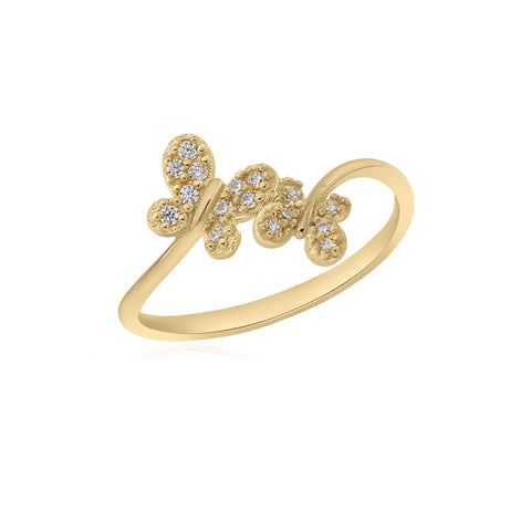 UNICORNJ 14K Yellow Gold Double Butterfly Pave CZ Bypass Ring Italy