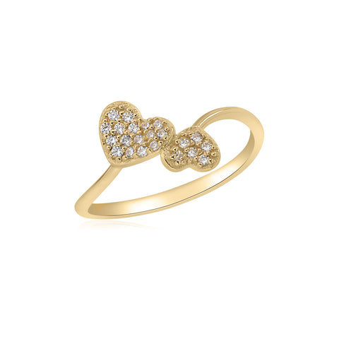 UNICORNJ 14K Yellow Gold Double Heart Pave CZ Bypass Ring Italy