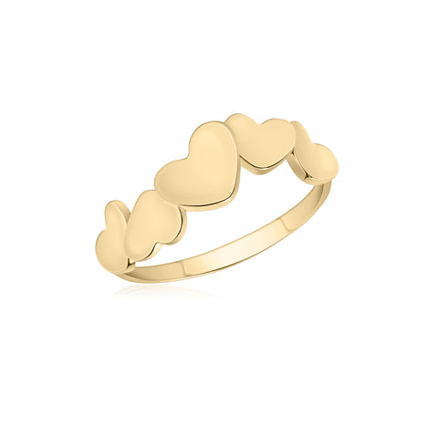 UNICORNJ 14K Yellow Gold Combined Polished Dancing Hearts Ring Italy