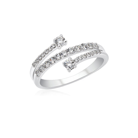 UNICORNJ 14K White Gold CZ Wrap Around Ring with Larger CZ on both Ends Italy