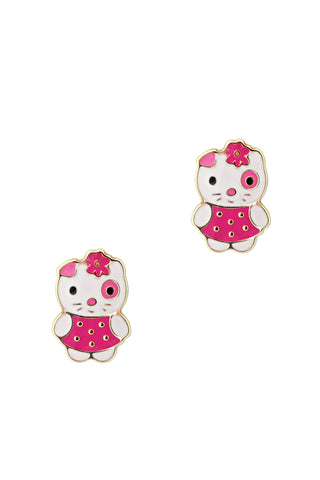 Massete Childrens 14K Gold Screwback Earrings Stud Enameled Kitty Design Pink - Massete