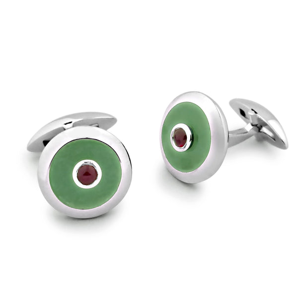 Zsamuel-Mens-Sterling-Silver-Ruby-Cabochon-and-Green-Quartz-Round-Cufflinks