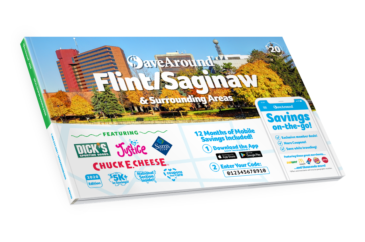 Flint/Saginaw & Surrounding Areas, MI 2020 SaveAround<sup>®</sup> Coupon Book