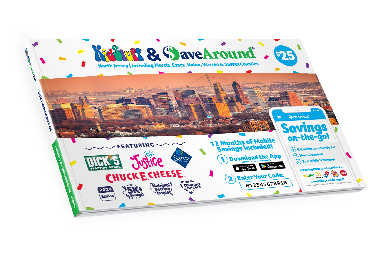 North Jersey (Morris, Essex, Union, Warren & Sussex Counties), NJ 2020 KidStuff<sup>™</sup> & SaveAround<sup>®</sup> Coupon Book