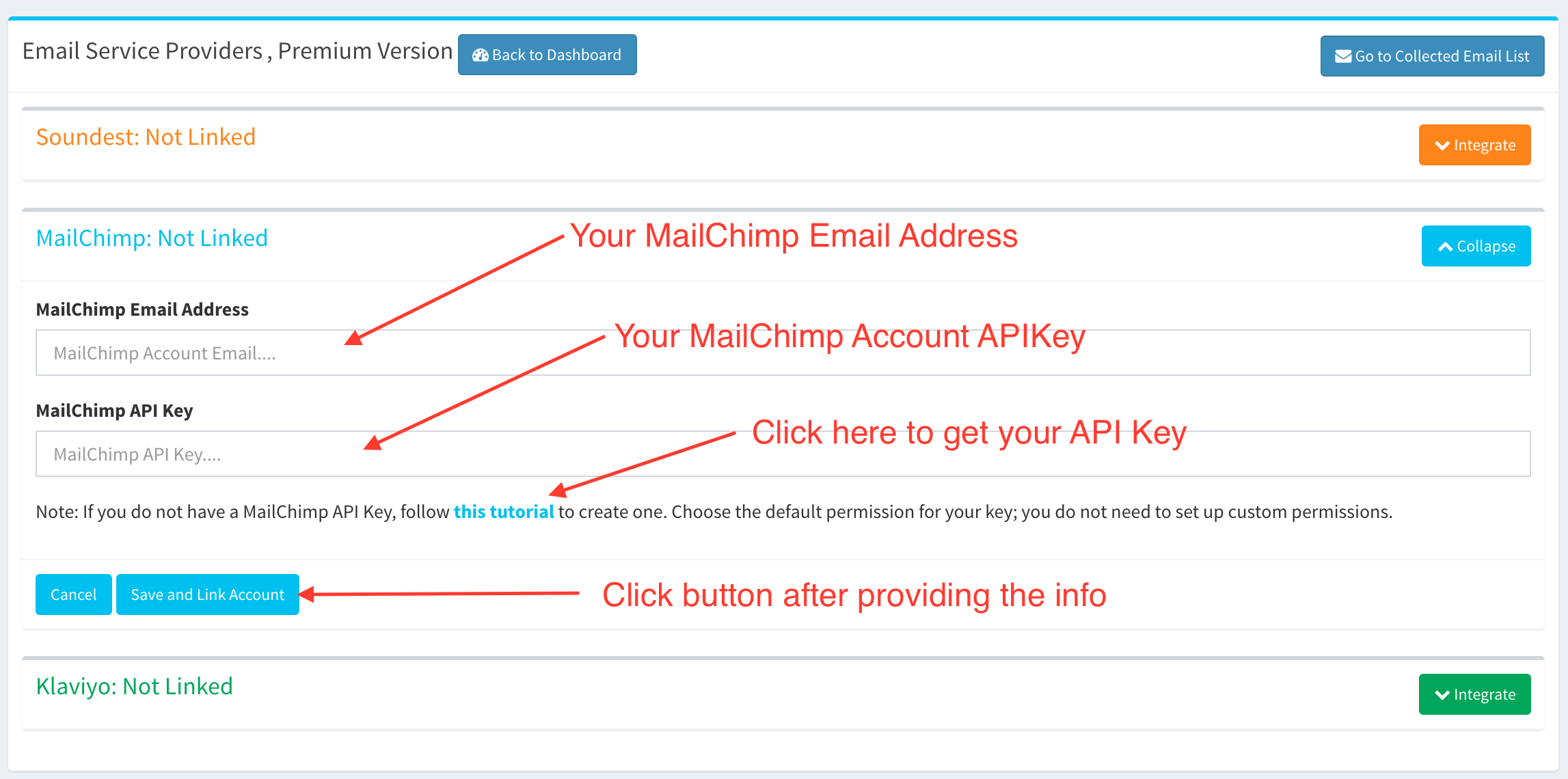 Shopify App - Email Collection Bar by Hextom - Account Link with MailChimp