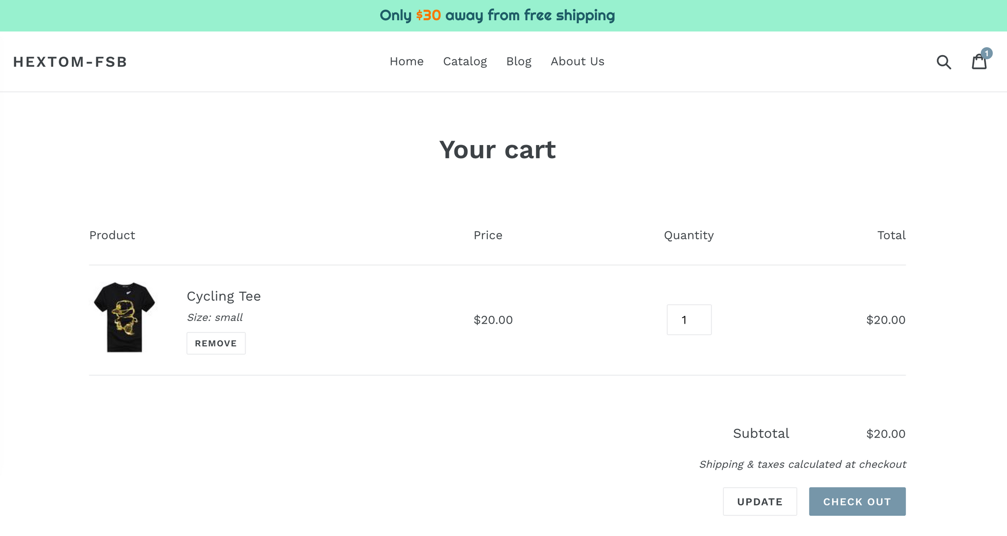Shopify App - Free Shipping Bar by Hextom - Secondary Goal