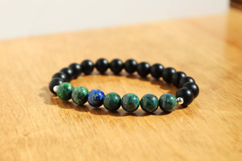 Chrysocolla and Black Bead Bracelet