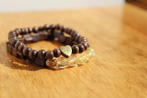 Citrine and Heart Charm Bracelet Stack