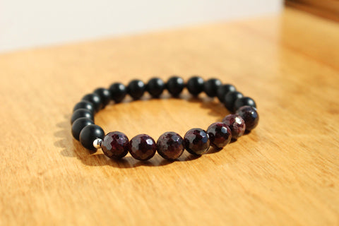 Garnet and Black Bead Bracelet