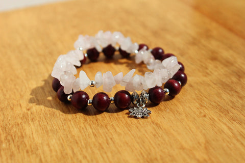 Rose Quartz and Lotus Charm Bracelet Stack