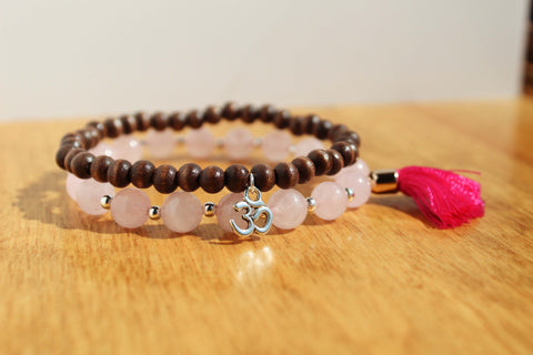 Rose Quartz and Om Charm Tassel Bracelet Stack