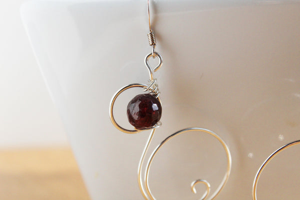 Garnet and Sterling Silver Wire Earring