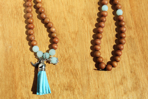 Amazonite Moon Mala Necklace