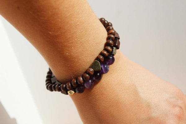 Amethyst and Heart Charm Bracelet Stack