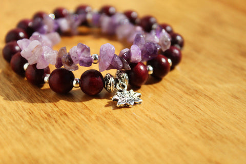 Amethyst and Lotus Charm Bracelet Stack