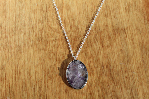 Amethyst Chip Resin Necklace