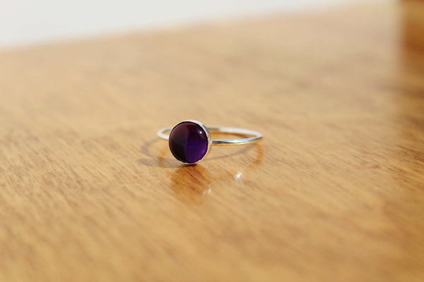 Sterling Silver Amethyst Stacking Ring - size 7