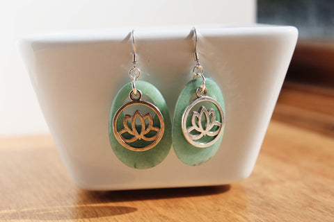 Aventurine Lotus Dangle Earrings