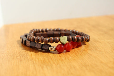 Carnelian and Heart Charm Bracelet Stack