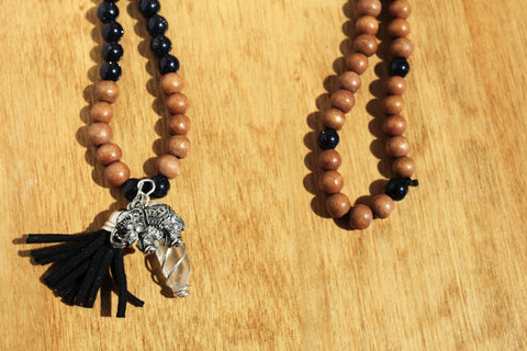 Blue Goldstone, Quartz and Elephant Mala Necklace