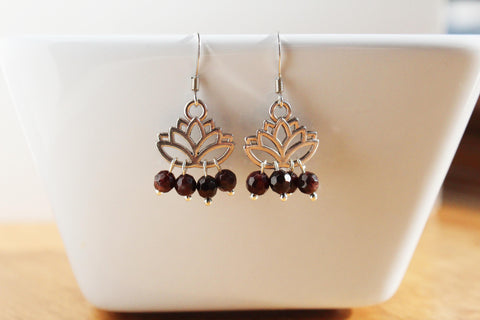 Lotus Flower Garnet Earrings