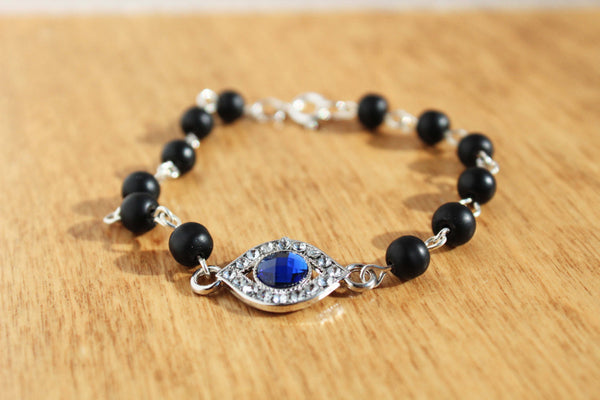 Evil Eye Black Bead Bracelet