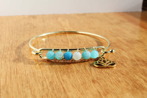 Blue Agate Gold Bangle with Lotus Charm