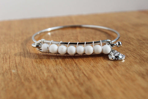 White Stone Bead Stackable Bangle with Buddha Charm