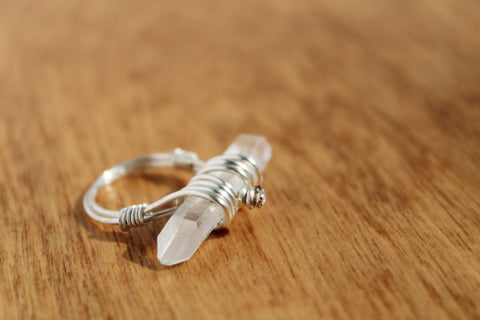 Wire Wrapped Raw Quartz Ring