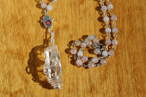 Hamsa and Quartz Necklace with Rose Quartz Bead Chain