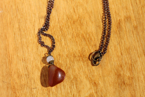 Carnelian Necklace with Grey Quartz Bead