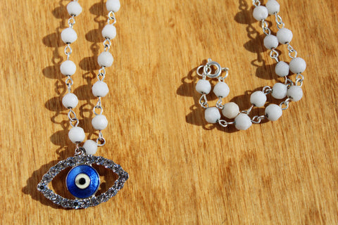 Blue Evil Eye Necklace on Handmade Bead Chain