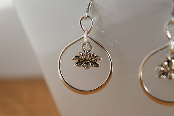 Sterling Silver Lotus Earring