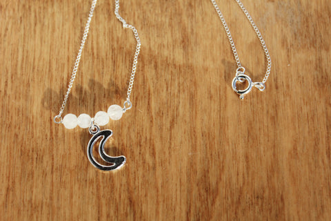 Moonstone Necklace with Moon Charm - Sterling Silver
