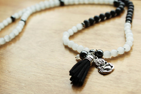 Hematite and Labradorite Mala Necklace with Buddha Charm