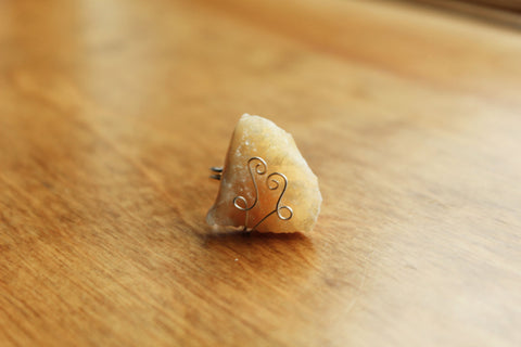 Yellow Calcite Adjustable Silver Ring