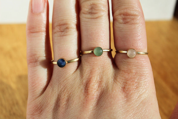 Brass Stackable Rings - Rose Quartz,  Aventurine or Sodalite