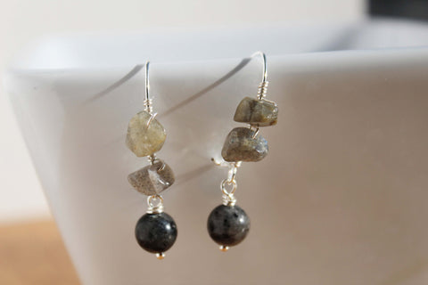 Wire Wrapped Labradorite Earrings