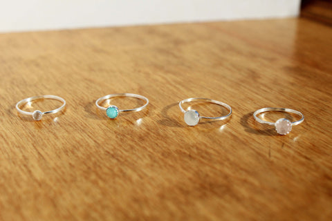 Sterling Silver Stackable Ring - Rose Quartz, Moonstone and Amazonite