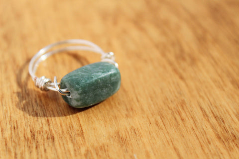 Green Stone Wrapped Wire Ring