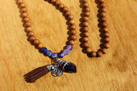 Amethyst Mala Necklace with Suede Tassel