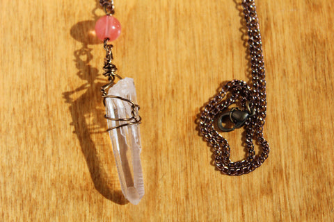 Quartz and Rose Quartz Bronze Necklace