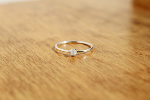 Sterling Silver Moonstone Stacking Ring - Size 7
