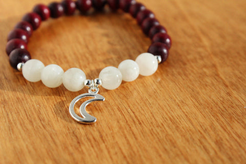 Moonstone and Wood Bracelet with Moon Charm