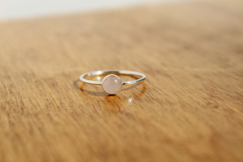 Sterling Silver Rose Quartz Stacking Ring - size 7