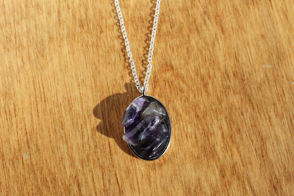 Tumbled Amethyst Resin Necklace