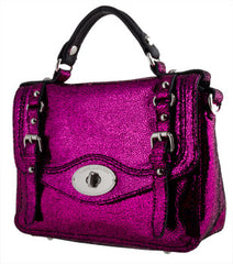Lancaster Paris Disco Crossbody in Gorgeous Glittery Fuschia Lambskin