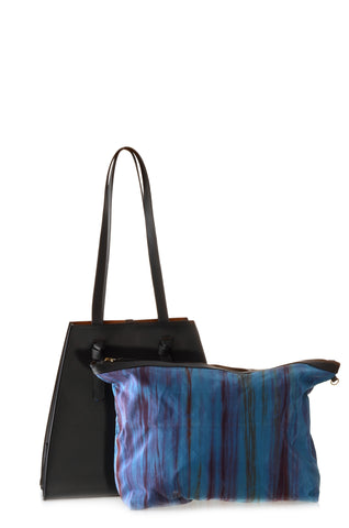 Lua Vegan Leather Tote with removable silk insert